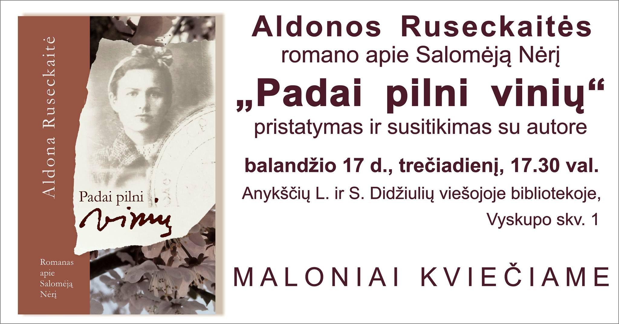 Aldonos Ruseckaitės knygos apie Salomėją Nėrį pristatymas