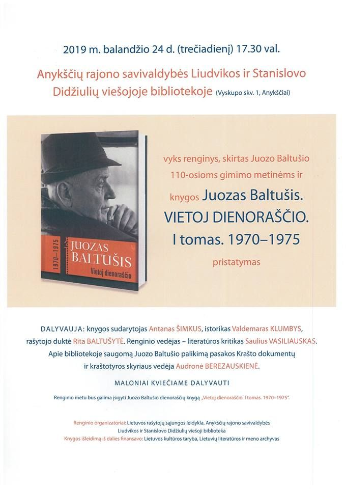 """Nacionalinė bibliotekų savaitė (2019) / Juozo Baltušio dienoraščių knygos """"Vietoj dienoraščio. I tomas. 1970–1975"""" (sud. Antanas Šimkus) pristatymas"""