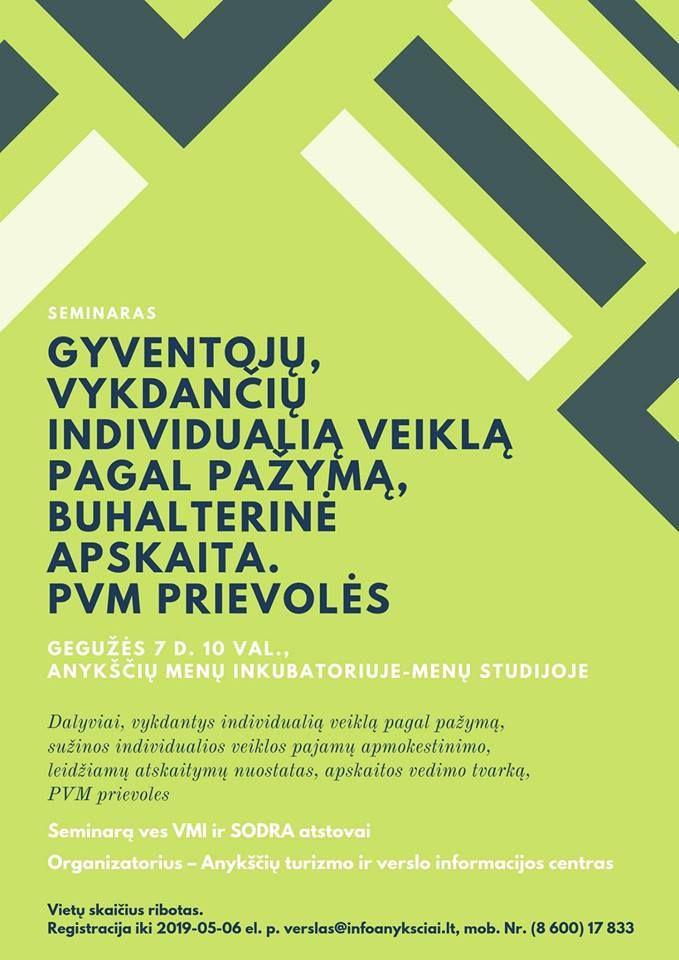 """Seminaras """"Gyventojų, vykdančių IVVP buhalterinė apskaita"""""""