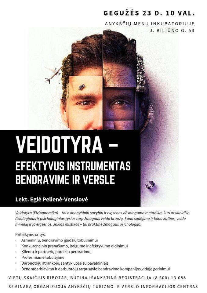 """Seminaras """"Veidotyra – efektyvus instrumentas bendravime ir versle"""""""