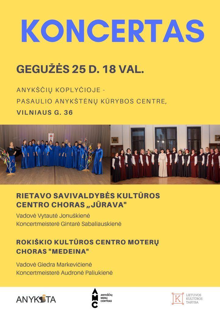 """Choro iš Rietavo """"JŪRAVA"""" bei Rokiškio moterų choro """"MEDEINA"""" koncertas"""