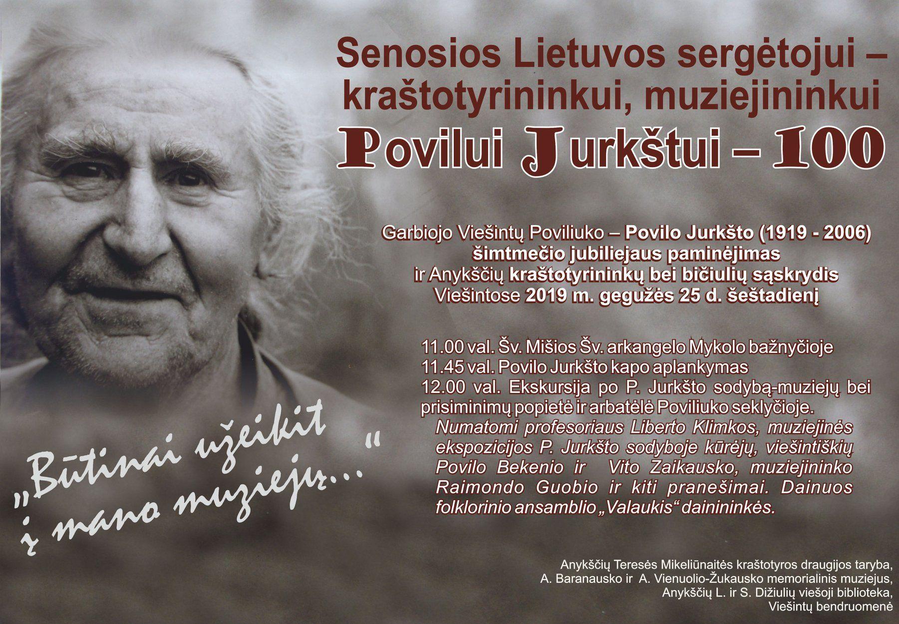 Senosios Lietuvos sergėtojui - kraštotyrininkui, muziejininkui Povilui Jurkštui - 100