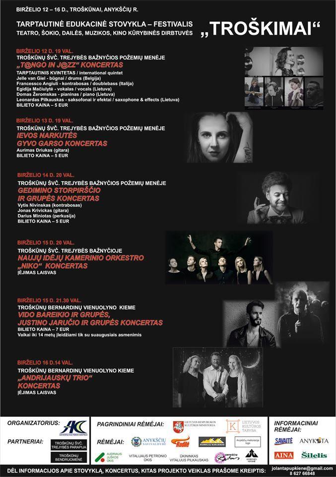 """Tarptautinė edukacinė stovykla - festivalis """"Troškimai"""" (2019) / Troškūnų miesto šventė / """"Andrijauskų trio"""" koncertas"""
