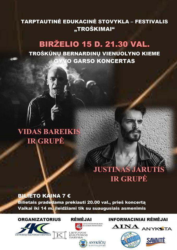 """Tarptautinė edukacinė stovykla - festivalis """"Troškimai"""" (2019) / Vidas Bareikis ir grupė / Justinas Jarutis ir grupė"""