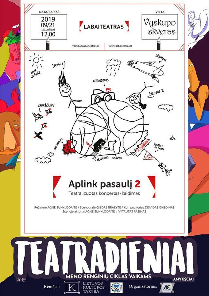 """Meno renginių ciklas vaikams """"Teatradieniai"""" / Teatralizuotas koncertas - žaidimas """"Aplink pasaulį 2"""""""