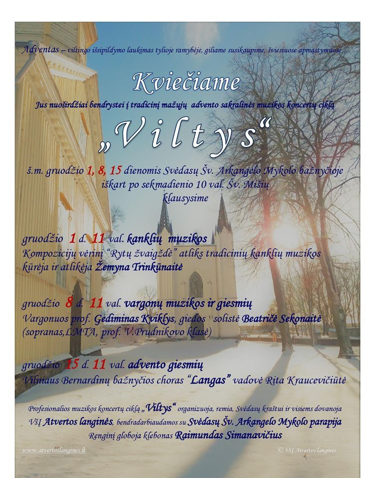 """Sakralinės muzikos koncertų ciklas """"Viltys"""" / Advento giesmes giedos Vilniaus Bernardinų bažnyčios choras """"Langas"""""""
