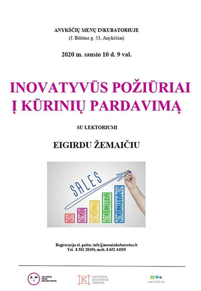 """Mokymai """"Inovatyvūs požiūriai į kūrinių pardavimą"""""""