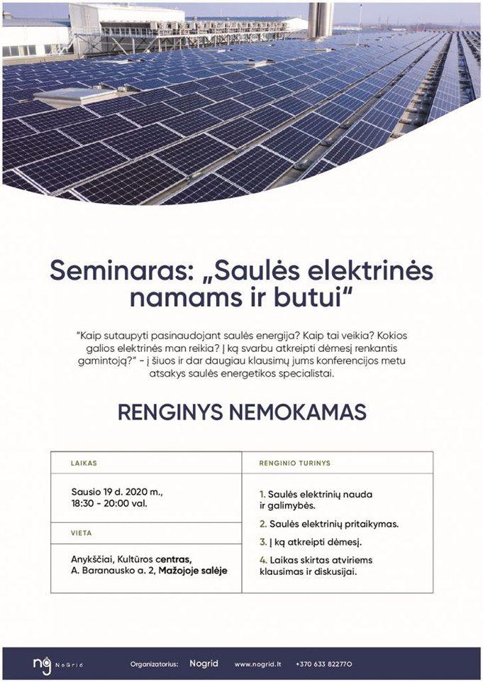 """Seminaras """"Saulės elektrinės namams ir butui"""""""