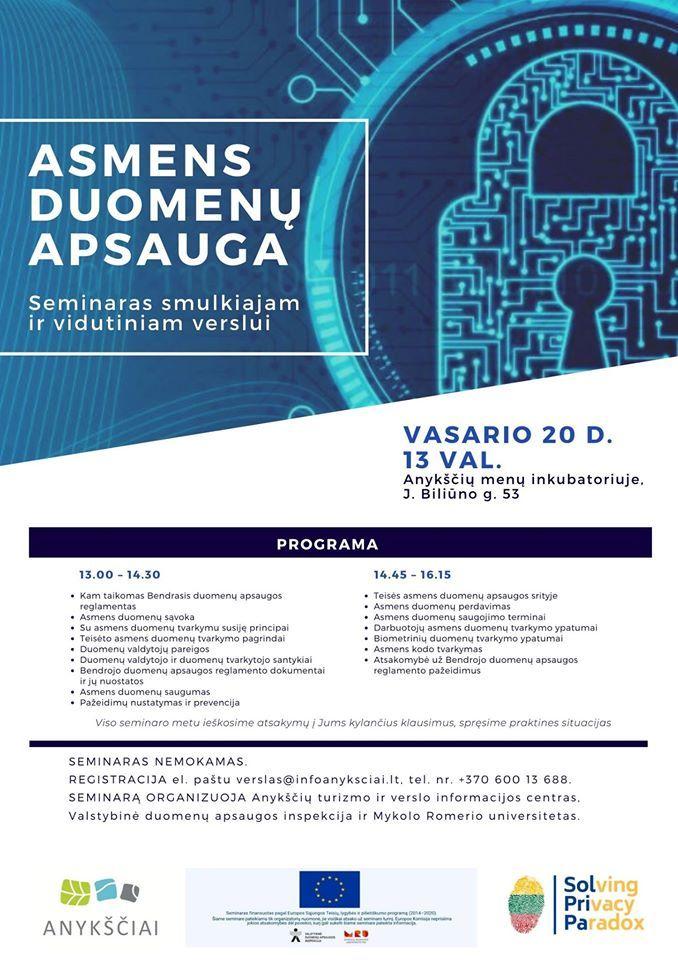 """Seminaras SVV """"Asmens duomenų apsauga"""""""
