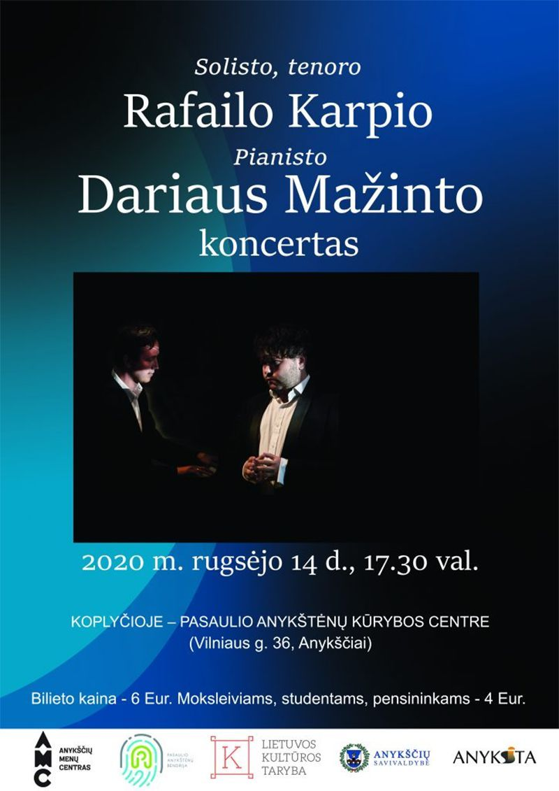 Tenoro Rafailo Karpio ir pianisto Dariaus Mažinto koncertas koplyčioje