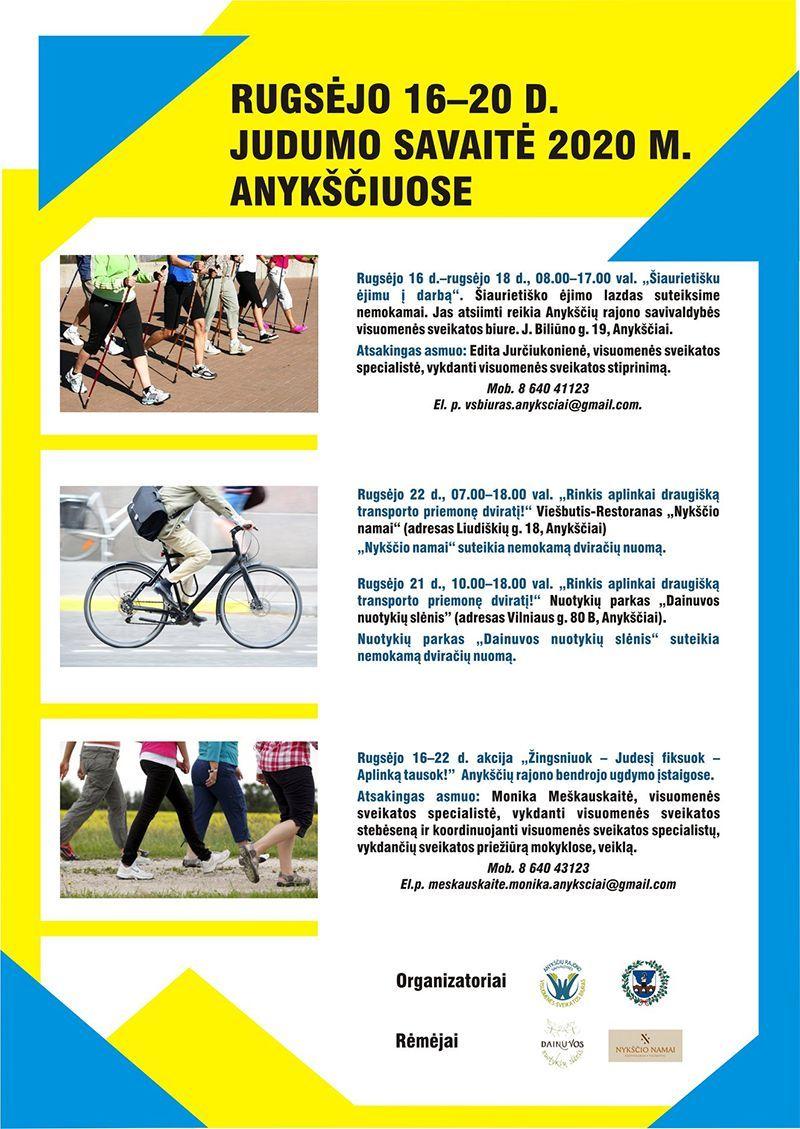 """Europos judumo savaitė """"Judumas - be jokios taršos"""" / """"Rinkis aplinkai draugišką transporto priemonę dviratį!"""""""