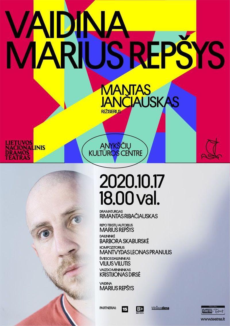 """Teatrų festivalis """"Pakeleivingi"""" (2020) / Mono spektaklis """"VAIDINA MARIUS REPŠYS"""""""