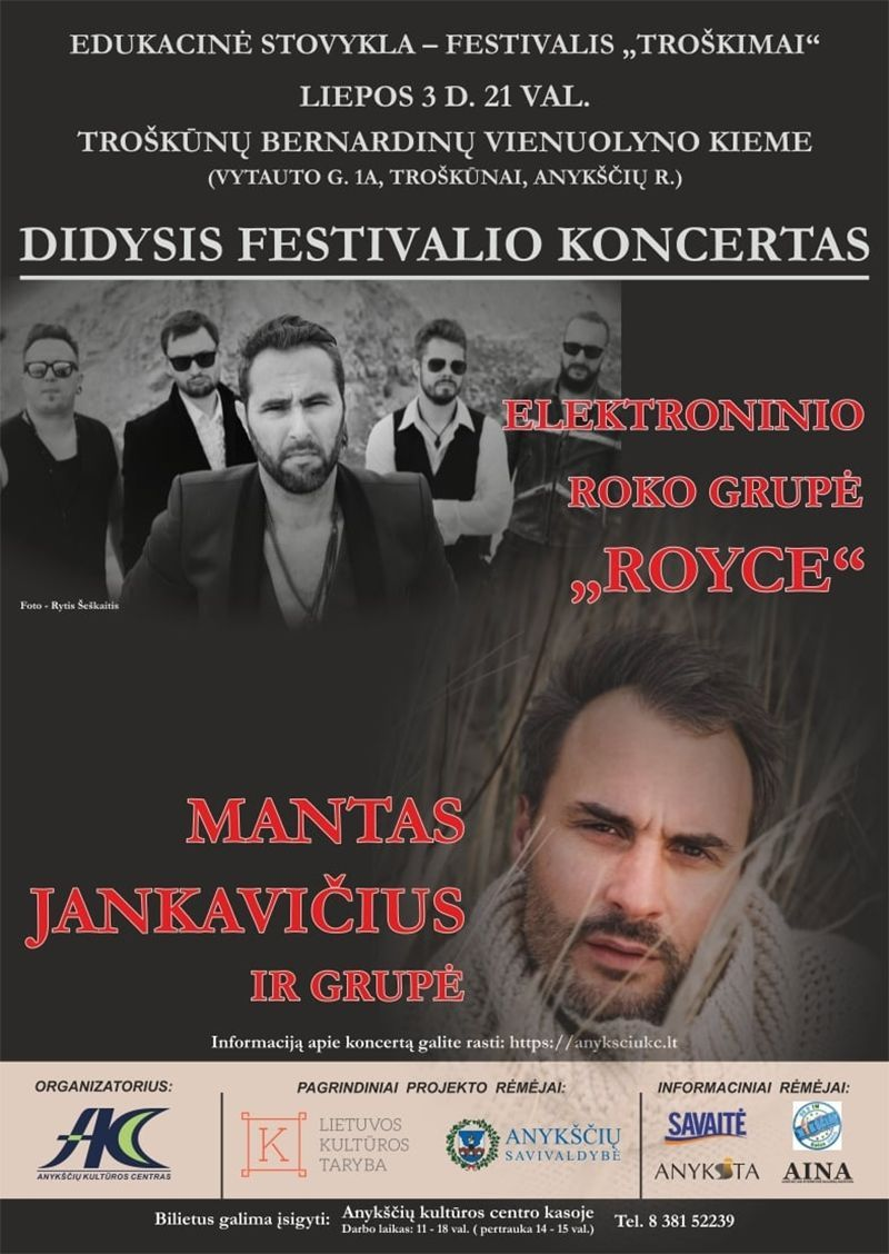 """Festivalis """"Troškimai"""" (2021)  / Manto Jankavičiaus ir elektroninio roko grupės """"Royce"""" koncertas"""