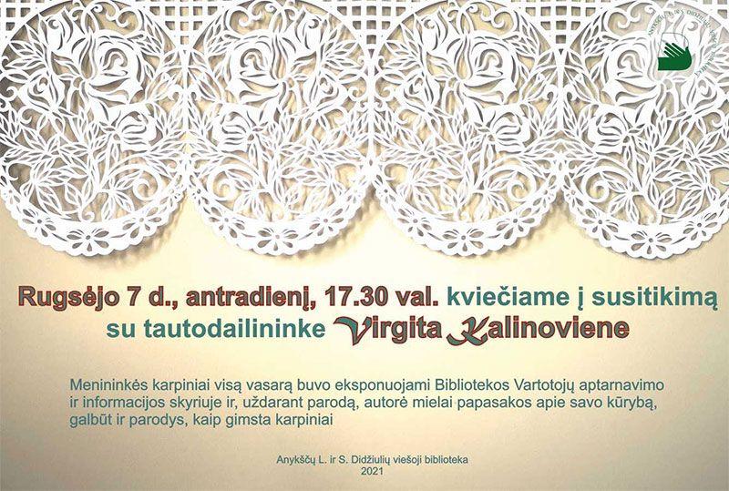 Susitikimas su tautodailininke Vigita Kalinoviene / Karpinių parodos uždarymas