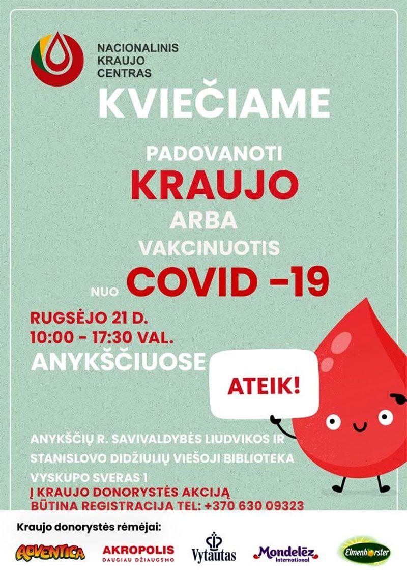 Nacionalinis kraujo centras kviečia dovanoti kraujo Anykščiuose