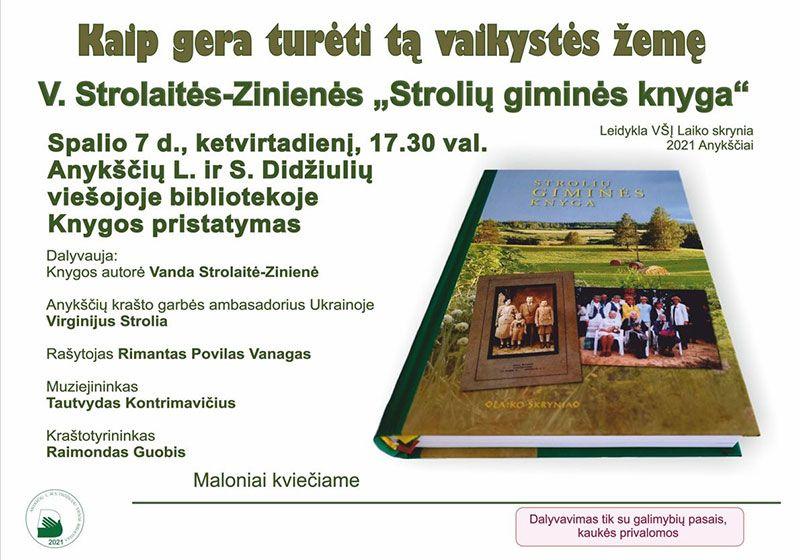 """V. Strolaitės-Zinienės knygos """"Strolių giminės knyga"""" pristatymas"""