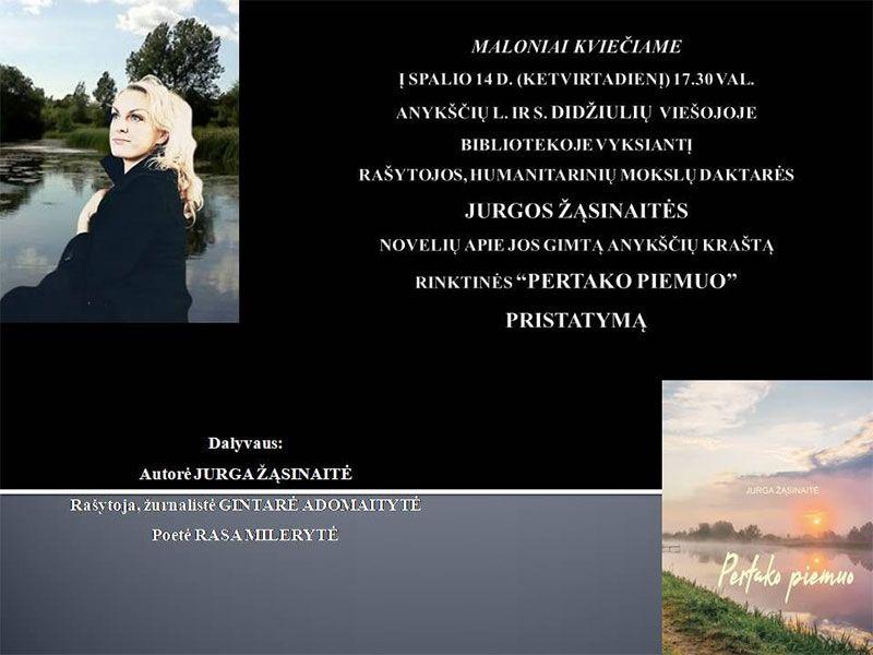 """Jurgos Žąsinaitės knygos """"Pertako pėmuo"""" pristatymą"""