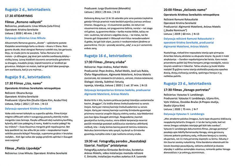 """Dokumentinų filmų XII festivalis """"Adox"""" / Operatorės Kristinos Sereikaitės retrospektyva II"""