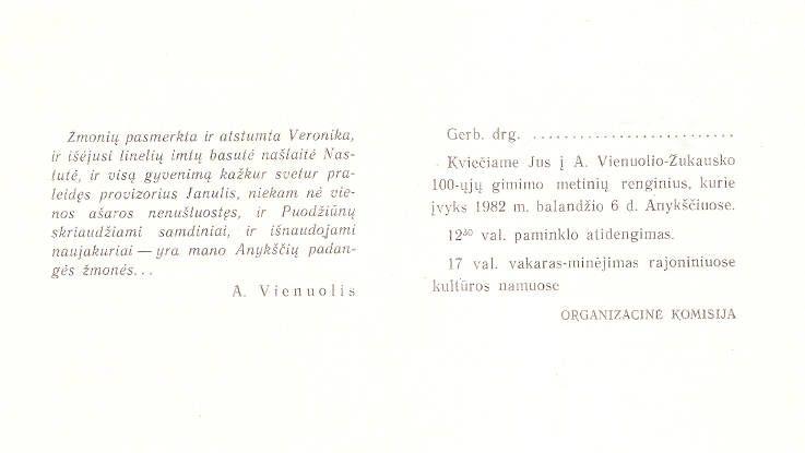 A. Vienuolio-Žukausko 100-ųjų gimimo metinių minėjimas - paminklo atidengimas