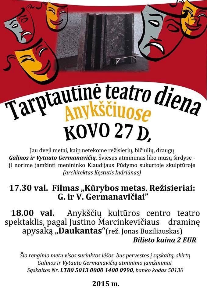 """Teatro diena. Filmas apie režisierius G. ir V. Germanavičius. Spektaklis """"Daukantas"""""""