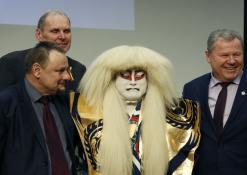 Sigutis Obeliavičius, aktorius Takakage Fudžima ir Kęstutis Tubis
