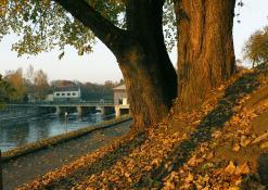 Šventosios upės krantinė spalio mėnesį