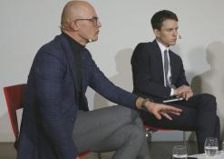 Žurnalistas Edmundas Jakilaitis ir politologas Linas Kojala