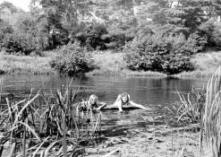 Mergaitės plaukioja Šventojoje