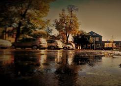 Miesto gatvės rudenį