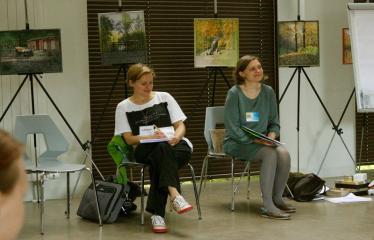 Jaunųjų kūrėjų dienos - Susitikimai su menininkais dirbančiais medijų srityje - Moderatorės Kristina Jakubauskaitė-Veršelienė ir  Jurgita Bugailiškienė
