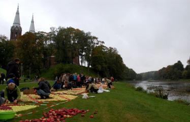 """Derliaus šventė """"Obuolinės"""" (2016) - Aukštaitiškos juostos dėlionė iš obuolių - Dėlionės darbai"""