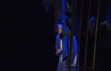 """Tarptautinis mėgėjų teatrų festivalis """"ARTimi"""" (2016) - Festivalio atidarymas - Spektaklio """"Čičinskas"""" akimirka, nuotraukoje aktorius  Žilvinas Pranas Smalskas"""