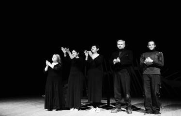 """Tarptautinis mėgėjų teatrų festivalis """"ARTimi"""" (2017) - Spektaklis """"Teatro fragmentas 1"""", """"Ateina ir išeina"""" - Aktoriai: S. Šerelienė, J. Gnedova, E. Ražanienė, Ž.P. Smalskas, G. Kazakevičius"""