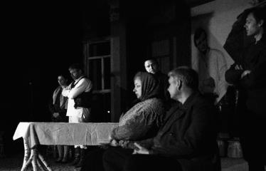 """Tarptautinis mėgėjų teatrų festivalis """"ARTimi"""" (2017) - Spektaklis """"Prieblandoje"""" - Aktorai iš kairės į dešinę: I. Gražytė, L. Pauliukas, R. Raišelis, A. Pajarskienė, Ž. P. Smalskas, G. Kazakevičius"""