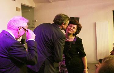 """Bibliotekos 80-ojo gimtadienio šventė - Bibliotekos jubiliejinis vakaras / Muzikinis sveikinimas """"Gražioji Amerikos klasika"""" - Sergėjus Jovaiša ir Antanas Baura"""