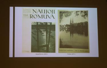 """Tomo Ivanausko paskaita """"Anykščių krašto reprezentacija nacionalinėje spaudoje 1918 - 1940"""" - Paskaitos akimirka"""