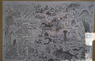 """Raimondo Guobio paroda """"Nuspalvintas pasaulis"""" / Susitikimas su autoriumi - Piešinys - Žemėlapis"""