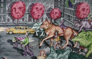 """Baltijos valstybių 100-mečiui skirta tarptautinė vaikų knygų iliustruotojų paroda """"Bėgimas su vilkais"""" - Gerda Martens  """"Gyvūno dvasios prabudimas II"""""""