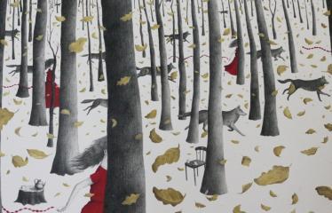 """Baltijos valstybių 100-mečiui skirta tarptautinė vaikų knygų iliustruotojų paroda """"Bėgimas su vilkais"""" - Liucija Mrzljak """"Bėgimas su vilkais"""""""