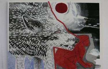 """Baltijos valstybių 100-mečiui skirta tarptautinė vaikų knygų iliustruotojų paroda """"Bėgimas su vilkais"""" - Kristi Kangilaski """"Sugrįžimas namo I"""""""