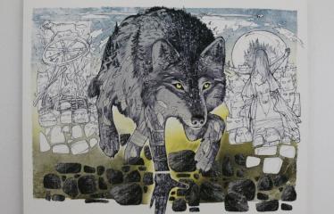 """Baltijos valstybių 100-mečiui skirta tarptautinė vaikų knygų iliustruotojų paroda """"Bėgimas su vilkais"""" - Prit Rea """"Vilkolakis"""" - Pieštukas, akvarelė"""