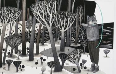 """Baltijos valstybių 100-mečiui skirta tarptautinė vaikų knygų iliustruotojų paroda """"Bėgimas su vilkais"""" - Regina Lukk - Toompere """"Leisk man būti savimi"""" - Pieštukas, akvarelė"""