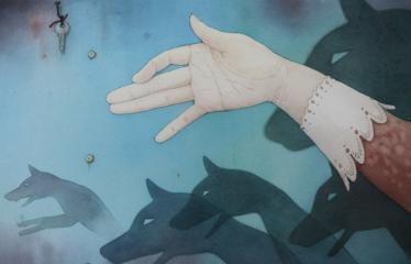 """Baltijos valstybių 100-mečiui skirta tarptautinė vaikų knygų iliustruotojų paroda """"Bėgimas su vilkais"""" - Gundega Muzikante """"Gimę iš šešėlio"""" - Akvarelė"""