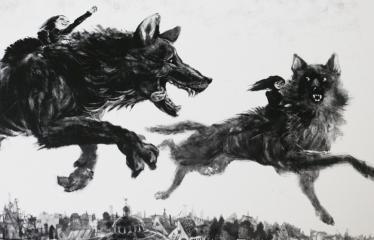 """Baltijos valstybių 100-mečiui skirta tarptautinė vaikų knygų iliustruotojų paroda """"Bėgimas su vilkais"""" - Reinis Petersonas """"Elžbieta ir Greisė"""" - Skaitmeninė grafika"""