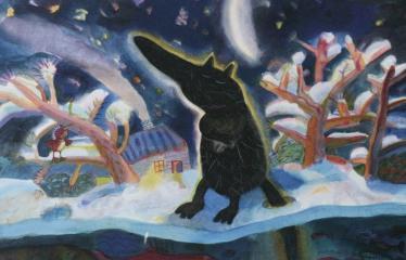 """Baltijos valstybių 100-mečiui skirta tarptautinė vaikų knygų iliustruotojų paroda """"Bėgimas su vilkais"""" - Juris Petraškevičs """"Vilkolakis"""" - Mišri technika"""