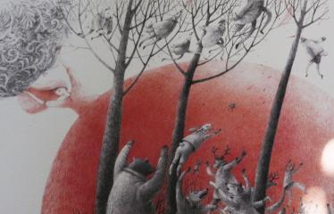 """Baltijos valstybių 100-mečiui skirta tarptautinė vaikų knygų iliustruotojų paroda """"Bėgimas su vilkais"""" - Lina Dūdaitė """"Iliustracija Kristijono Donelaičio poemai """"Metai"""" Pavasaris"""" - Guašas, pieštukai"""