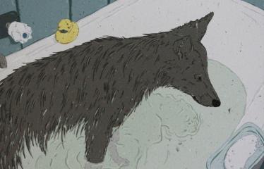 """Baltijos valstybių 100-mečiui skirta tarptautinė vaikų knygų iliustruotojų paroda """"Bėgimas su vilkais"""" - Kotryna Zylė """"Vilktakis"""" - Skaitmeninė grafika"""