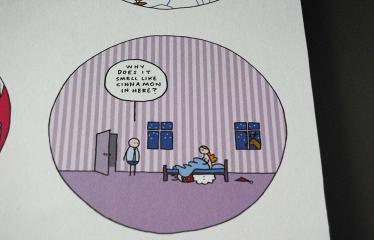 """Festivalis """"Devilstone"""" (2019) / Islandų menininko Hugleikur Dagsson komiksų paroda - Komikso fragmentas"""