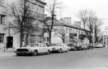 """Fotokonkursas """"Anykščiai ir apylinkės"""" (1973) - Vestuvininkų automobiliai J. Biliūno gatvėje"""