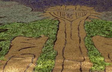 """Anykščių miesto šventė (2017) - """"ŠvenČIA ANYKŠČIAI"""" - Floristinių kilimų pynimas ir paroda - AMUIC Skiemonių skyriaus floristinis kilimas"""